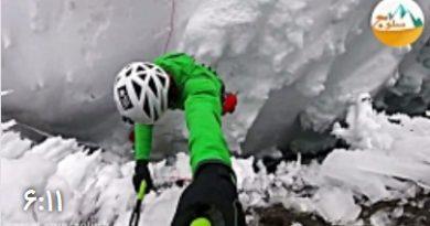 ویدئو خطرناک صعود از آبشار یخ زده