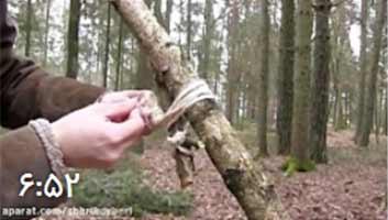 آموزش ساخت جانپناه چوبی در جنگل